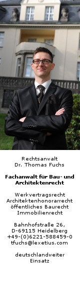 Rechtsanwalt Dr. Thomas Fuchs, Fachanwalt für Baurecht und Architektenrecht, Heidelberg